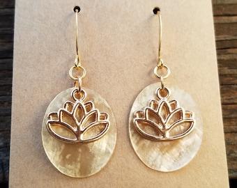 Lotus Flower Shell Earrings / French Hooks / Multi-Colors / Color Healing Earrings / Chakra Balancing Earrings / Gold Plated