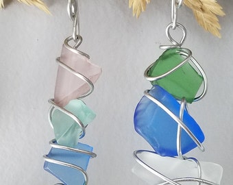 Sea Glass Ornament / Wire Wrapped Colored Sea Glass / Handcrafted Wire Hook / Sea Glass Charms