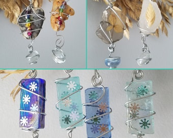 Wire Wrapped Dangle Ornament with Handcrafted Wire Hook / Color Glass / Beaded Seashell / Sea Glass / Pressed Dried Flower / Sea Oat / Snow