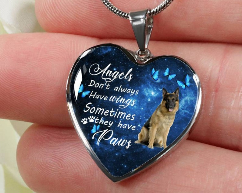 Pet Memorial Friend Gift Angel Paw Print Necklace Dog Jewelry Pet Remembrance Necklace Gift German Sheppard Dog Necklace Personalized