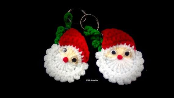Bunny crochet Hanging Christmas mask ornament 2020 Keyring Key Fob Crochet Soft Keychain Bag charm Christmas gifts for coworkers