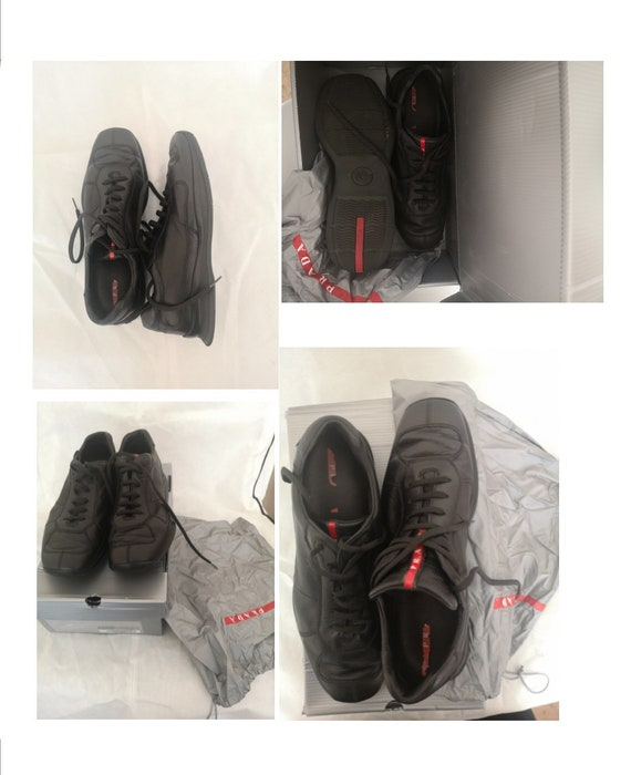 Prada men's black lace up 100%leather trainers sho