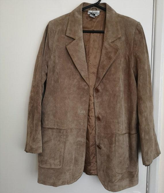 70s VTG brown suede leather blazer jacket in mediu