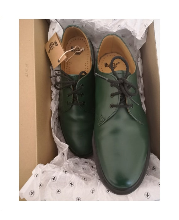 Dr martens men's 1461 green leather lace-up shoe i