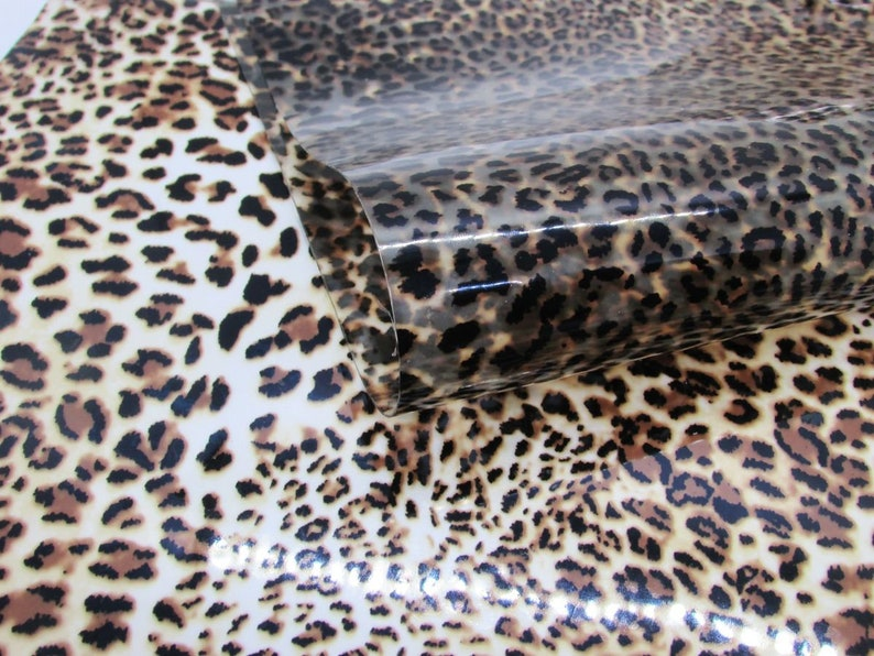 Cheetah Print Jelly Vinyl Sheets R4-122 7.5x12 Waterproof Vinyl Sheets