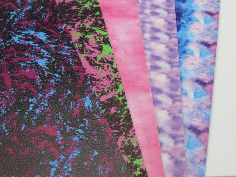 Splatter Faux Leather Sheets Tie Dye Vinyl Fabric Sheet image 0