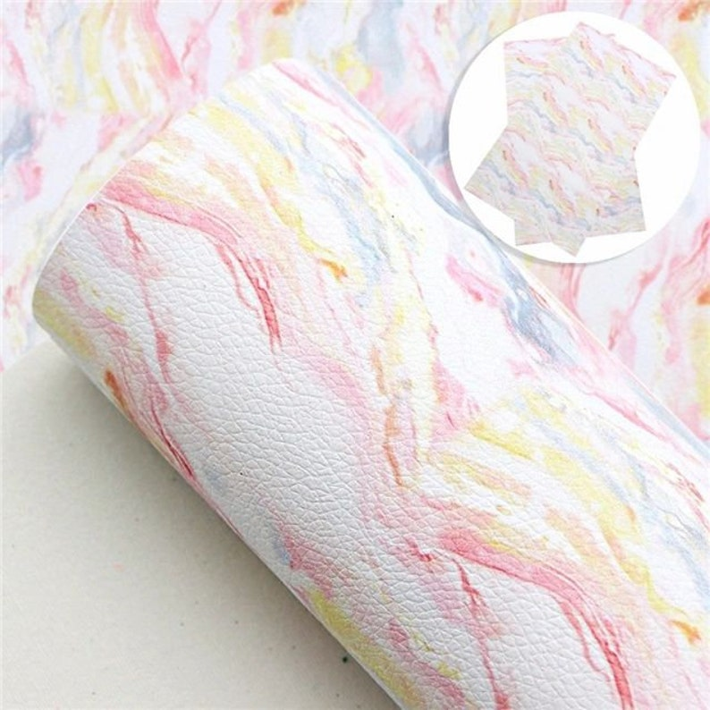 Marbled Tie Dye Faux Leather Sheets Vinyl Fabric Sheet image 0