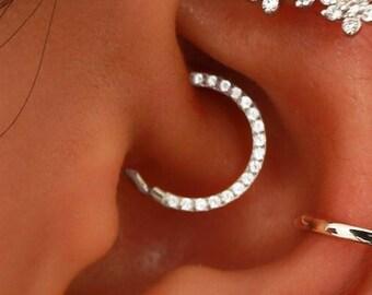 Daith Earrings Silver, Septum Ring, Cartilage Hoop Gem, Conch Piercing, Daith Clicker, Septum Hoop, Cartilage Earring, Crystal 16G 8mm