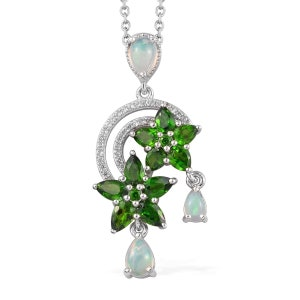 2.92 ctw Natural Russian Diopside and Multi Gemstone Floral Pendant Necklace 20 Inch in Platinum Over Sterling Silver Gift For Her