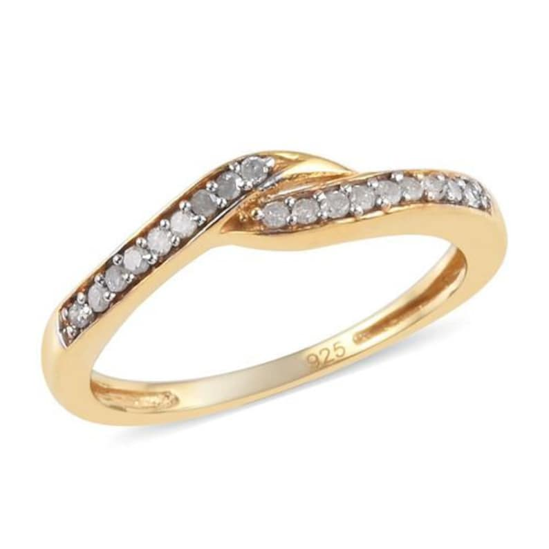 Diamond Bypass Ring in Gold Plated Sterling Silver Wedding Ring Engagement Ring Handmade Jewelry Gift For Her