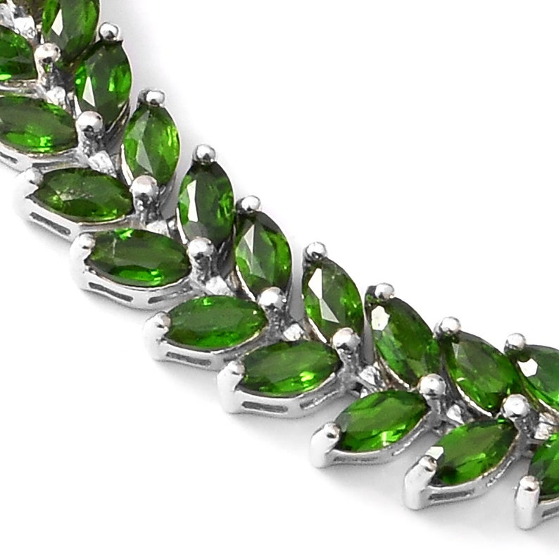 Russian Jewelry Handmade Jewelry Gift For Her 13.80 ctw Russian Diopside Bracelet in Platinum Over Sterling Silver 7.25 In