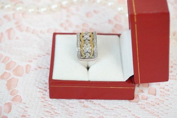 JWBR 925 India Sterling Silver Gold Tone Three Row Rhinestone Wide Band Ring
