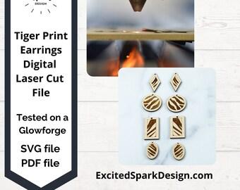 Tiger Print Earring Bundle Laser File SVG