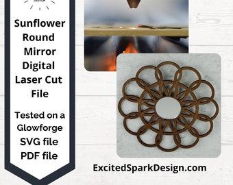 Sunflower Round Mirror Laser Cut Frame Digital SVG file