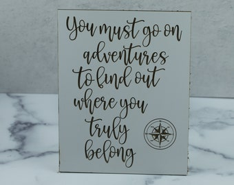 adventure laser engraved wood sign, wall art, graduation gift, moving away, laser cut files, nautical compass, wedding gift, travel quote