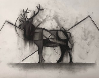 Comtempory Nature Drawing - Original Art - Charcoal on Paper