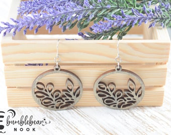 Fern Branch/Handmade Wood Earrings/Boho Inspired Drops/Unique Stylish/Lightweight Lasercut/Rustic Design/Any Occasion Jewelry/Wooden Dangles