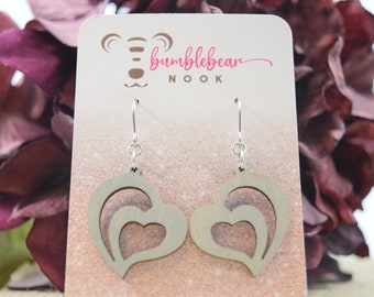 2 Tier Hearts/Rustic Designs/Lasercut Earrings/Artisan Wood Earrings/Heart Earrings/Any Occasion Jewelry/Statement Earrings/Boho