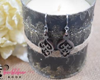 Double Heart Chandelier/Rustic Designs/Lasercut Earrings/Artisan Wood Earrings/Heart Earrings/Any Occasion Jewelry/Statement Earrings/Boho
