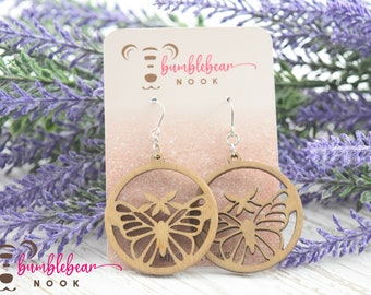 Butterfly/Handmade Wood Earrings/Boho Inspired Drops/Unique Stylish/Lightweight Lasercut/Rustic Design/Any Occasion Jewelry/Wooden Dangles