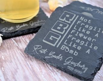 Ruth Bader Coasters/Pick 4 Coasters/Slate Drink Coaster/Notorious Gift/RBG Memorial set/Bar Drink Accessory/Coaster/Commemorative Drinkware