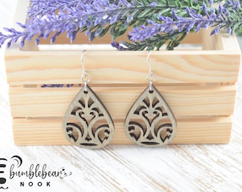 Heart Scrolled/Handmade Wood Earrings/Boho Inspired Drops/Unique Stylish/Lightweight Lasercut/Rustic Design/Any Occasion Jewelry/Wood Dangle