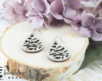 Leaf and Twig/Handmade Wood Earring/Boho Inspired Drops/Unique Stylish/Lightweight Lasercut/Rustic Design/Any Occasion Jewelry/Wooden Dangle