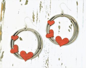 Wood Heart Hoop Earrings/Round Heart Earrings/When calls the heart/Boho Statement Earrings/Laser Cut/Gifts for Her/Handmade Scribble Earring