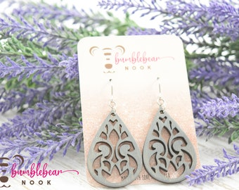 Stained glass Fleur de Lis/Handmade Wood Earrings/Boho Inspired Drops/Unique Stylish/Lightweight Lasercut/Rustic Design/Any Occasion Jewelry