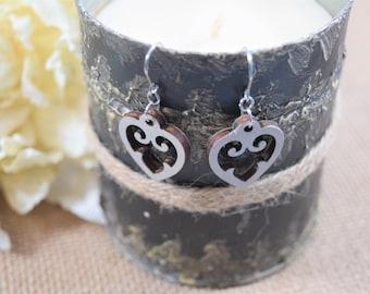 Whitewashed Rustic Heart/Rustic Designs/Lasercut Earrings/Artisan Wood Earrings/Heart Earrings/Any Occasion Jewelry/Statement Earrings/Boho