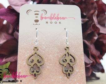 Chandelier Earrings/Rustic Designs/Lasercut Earrings/Artisan Wood Earrings/Heart Earrings/Any Occasion Jewelry/Statement Earrings/Boho