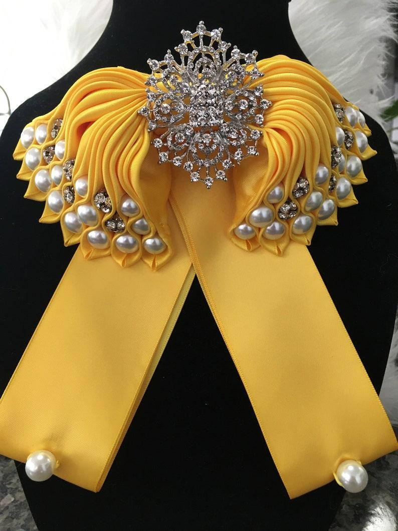 Satin Yellow Bow Tie Brooch