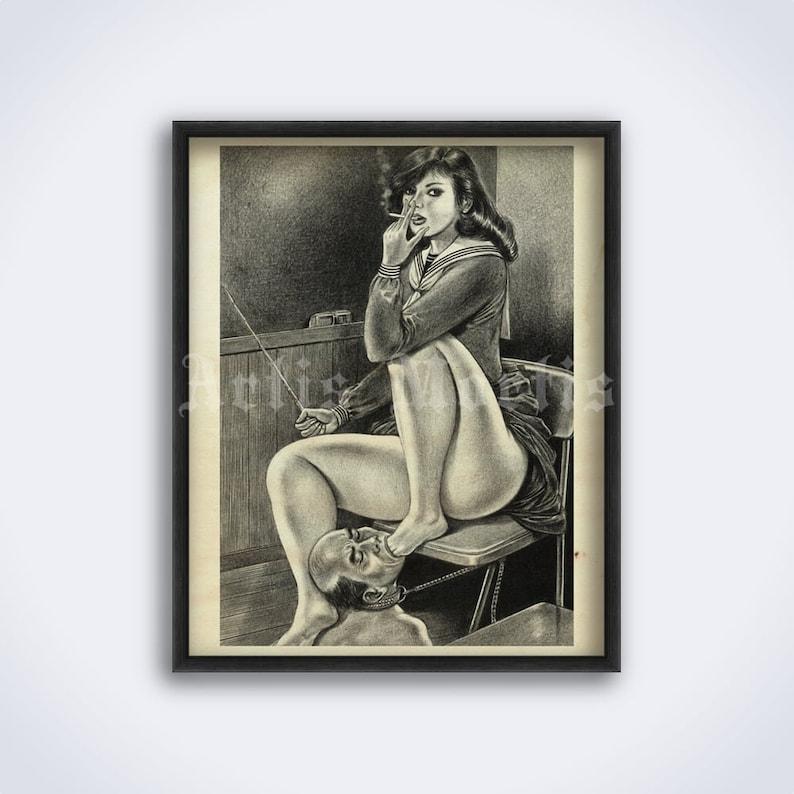 Foot fetish lesson  Vintage Japanese Femdom art BDSM adult image 0