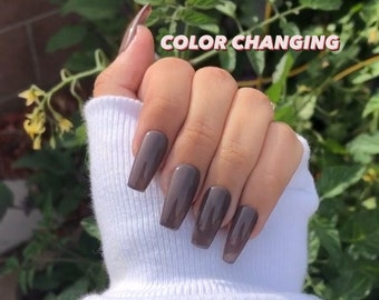 midnight hour   color changing nails   brown color changing nails   press ons   long nails   short nails   color changing press ons   gel