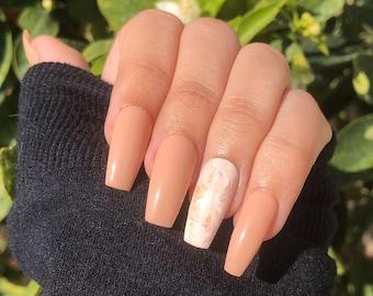 marble nails   coffee nails   brown nails   tan nails   press on nails   gel nails   long nails   short nails   good quality nails   gel