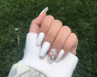 butterfly press on nails   short ballerina/coffin shaped nails   reusable nails   birthday gift   aesthetic nails   gel nails