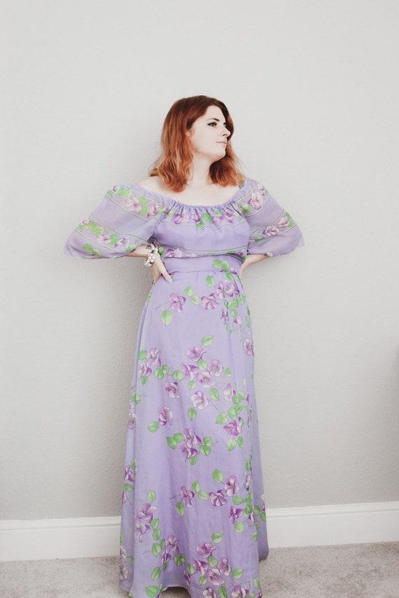 70s Lilac Garden Maxi Dress - image 3