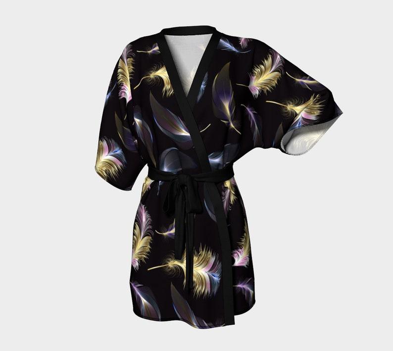 valentines gift Boho Feather short kimono robe kimono floral tie dye