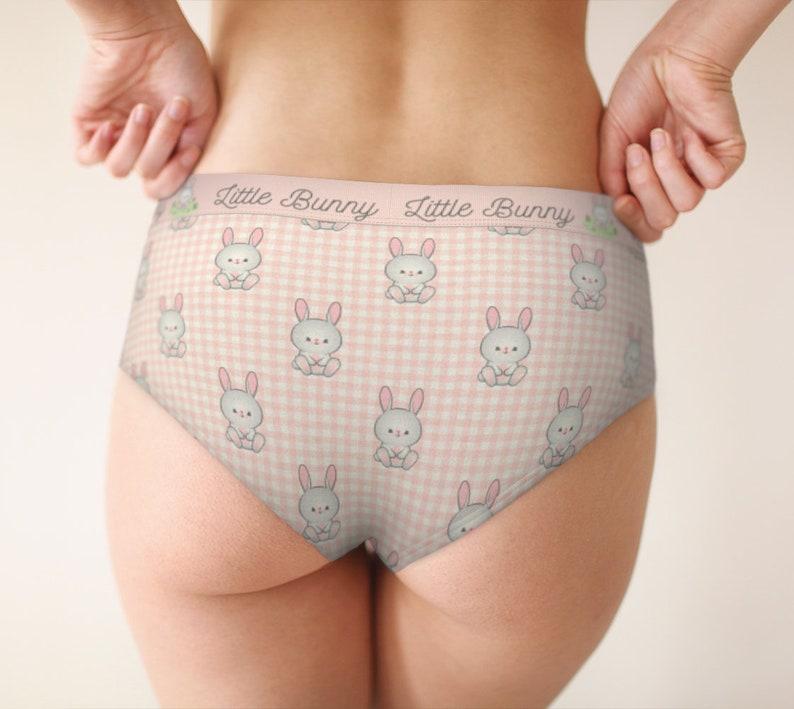 Little bunny mid waist cheeky hipster panties for women cute lingerie rabbit art XS-XLcustom sizes underwear