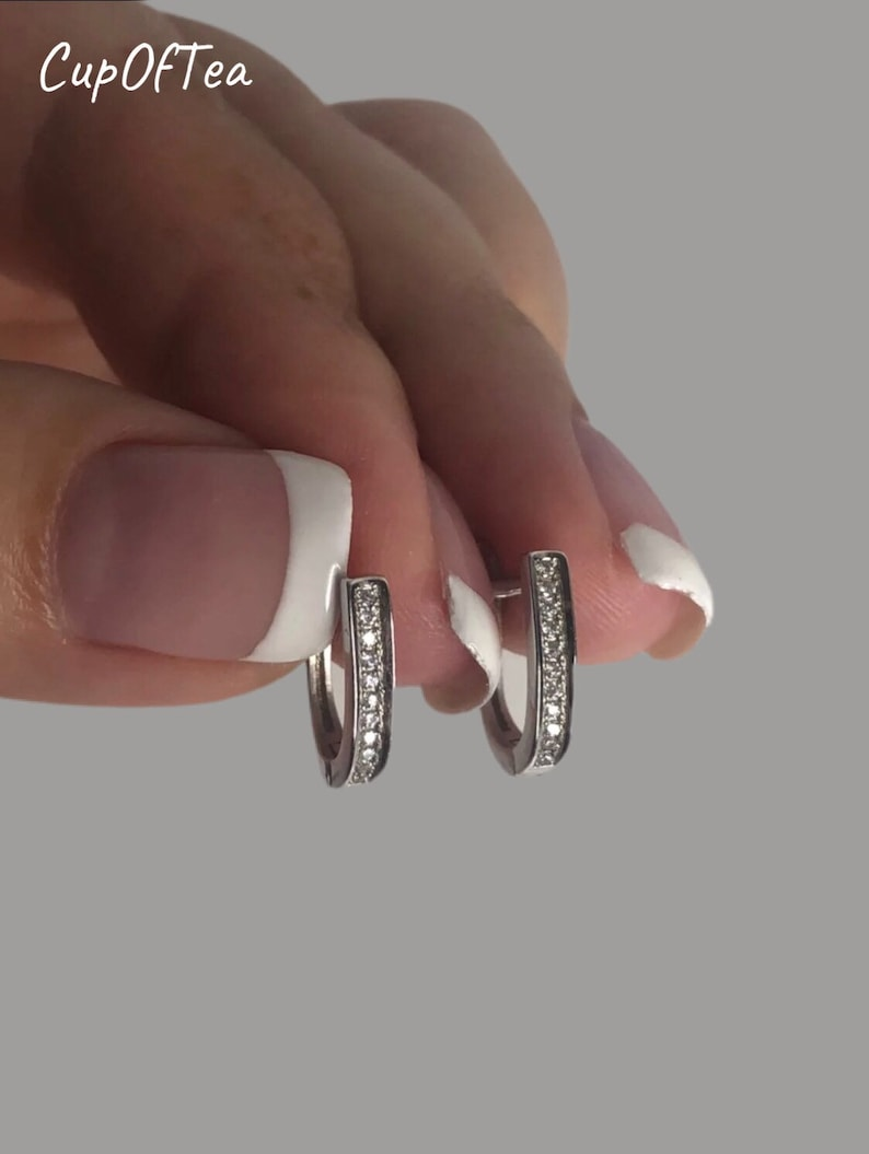 Sterling Silver 925 Half Hoops Earrings 50/% Off
