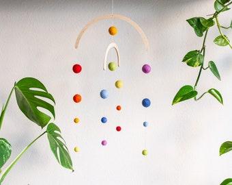 Mobile Rainbow Felt Balls | Decoration | Nursery