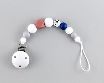 Pacifier chain with silicone beads   terrazzo, rust-red, blue, grey and white   Clip