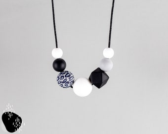 Breastfeeding chain with silicone beads   leo, black, grey and white   Mama chain   Carrying chain   Toothing chain