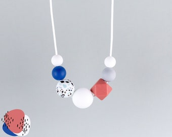 Breastfeeding chain with silicone beads   terrazzo, blue, rust-red, grey and white   Mama chain   Carrying chain   Toothing chain