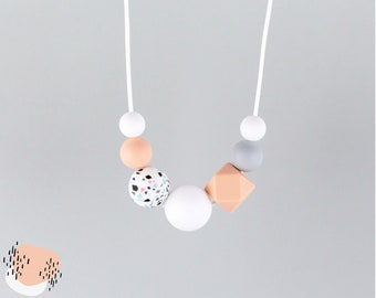 Breastfeeding chain with silicone beads   terrazzo, pink, grey and white   Mama chain   Carrying chain   Toothing chain
