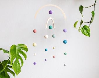 Mobile Pastel Rainbow Felt Balls   Decoration   nursery