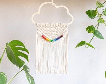 Macrame Cloud with Rainbow   Wall hanging   Boho Decoration   Nursery