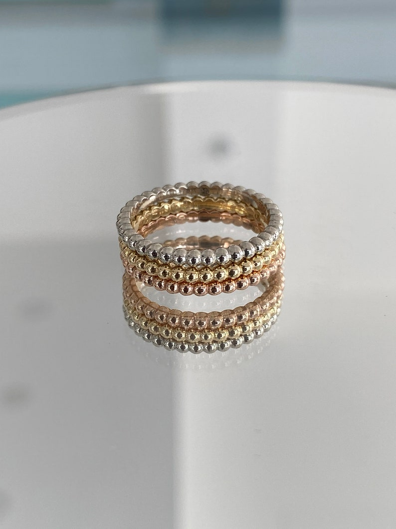 18 Karat Yellow White and Rose Gold Stackable Modern Bead Ring For Her