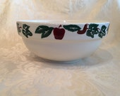 Large Apple Decor Santa Ana Crock Co Mixing Bowl Vintage Collectible Pottery