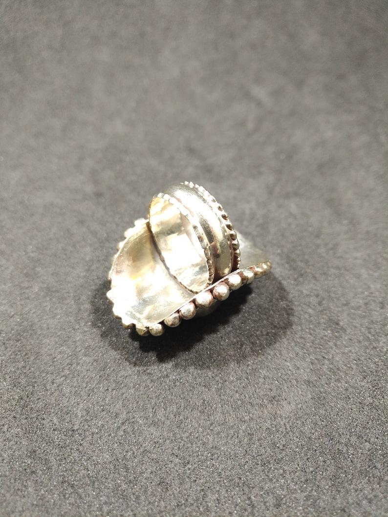 Vintage handmade Afghan natural lapis lazuli german silver ring 8.5
